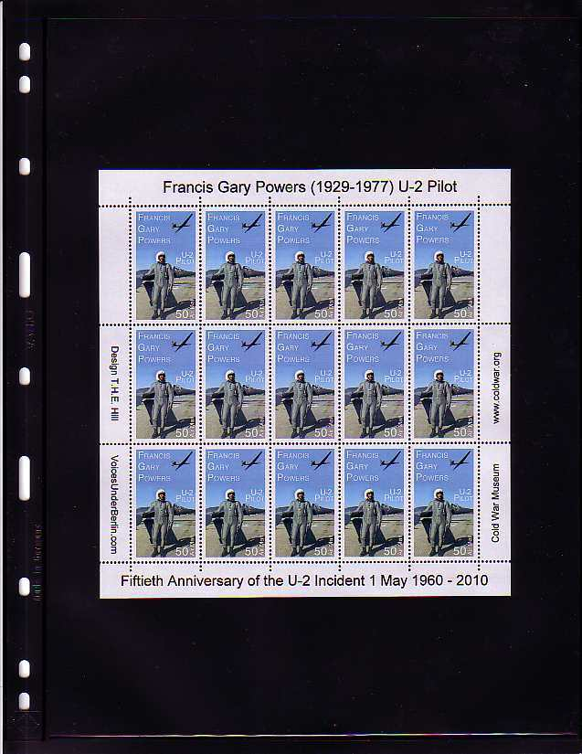 Francis Gary Powers U-2 Pilot Cinderella Stamp Sheet